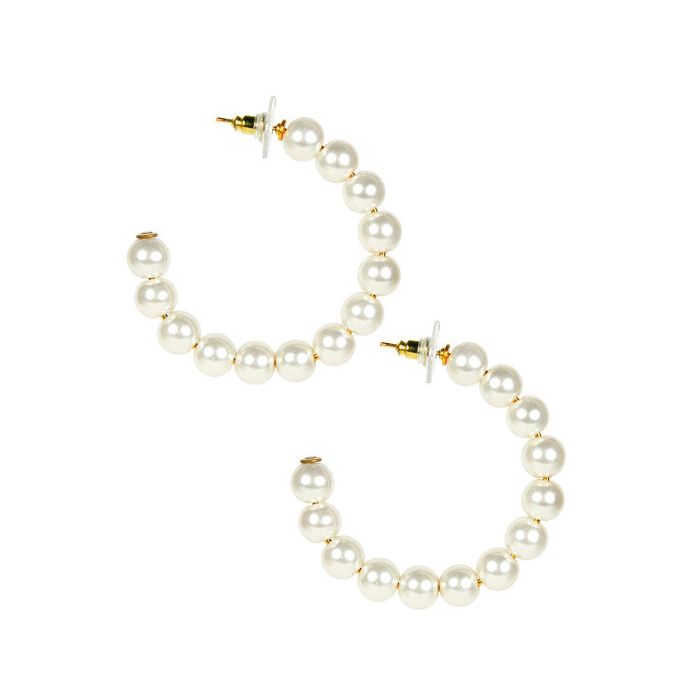 Lisi Lerch Lila Pearl Beaded Hoop Earrings - thegrovewp