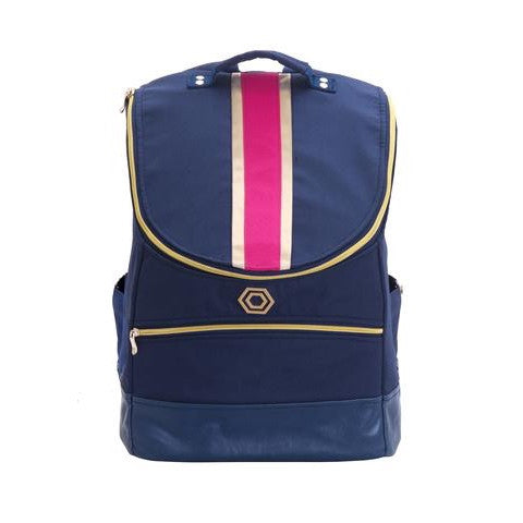 Madeline & Company Classic Striped Backpack: Pink/Gold - thegrovewp