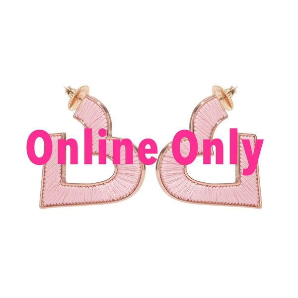 Heart Fiona Hoop Earrings | Pink