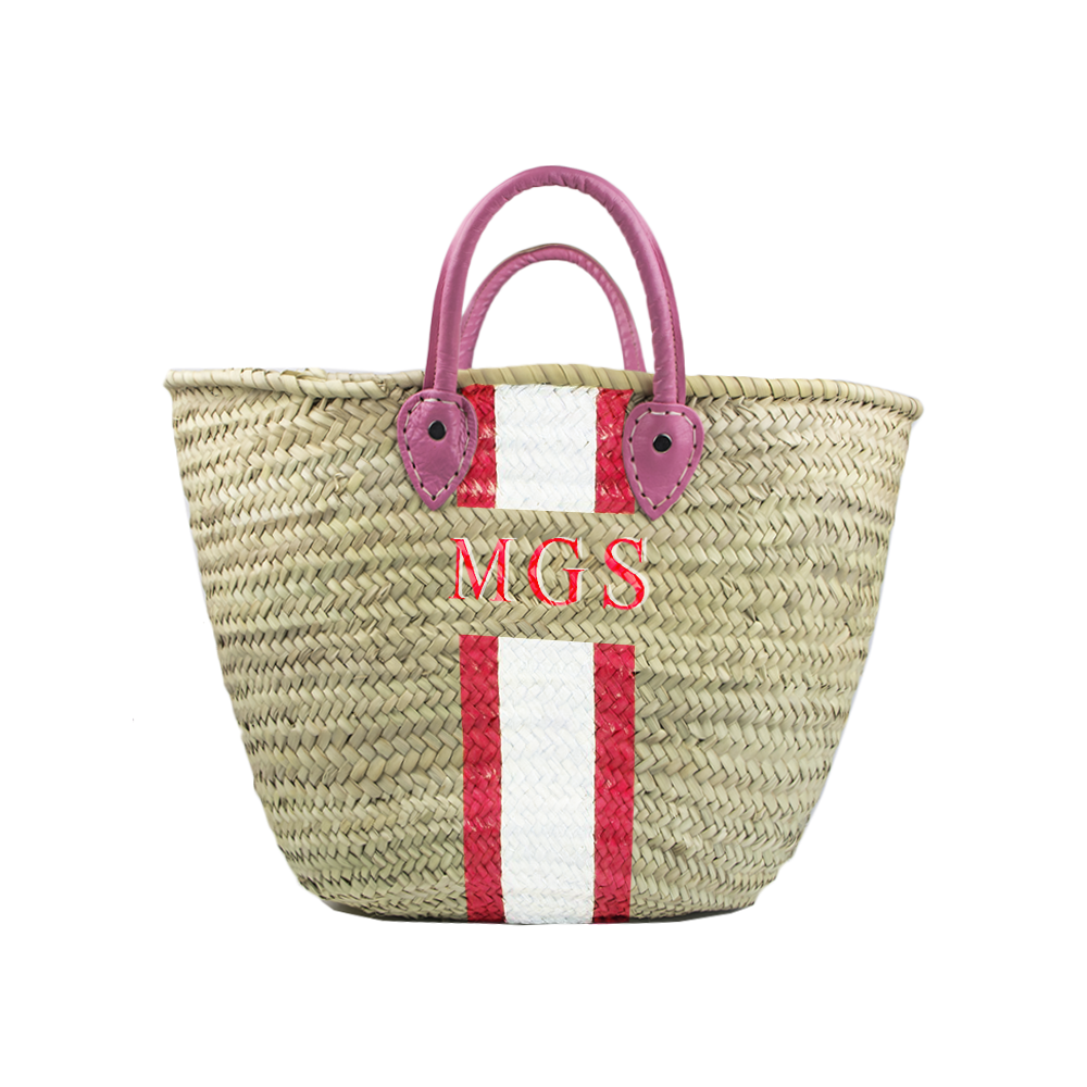 Leather Handle Monogrammed Tote-French Basket-The Grove
