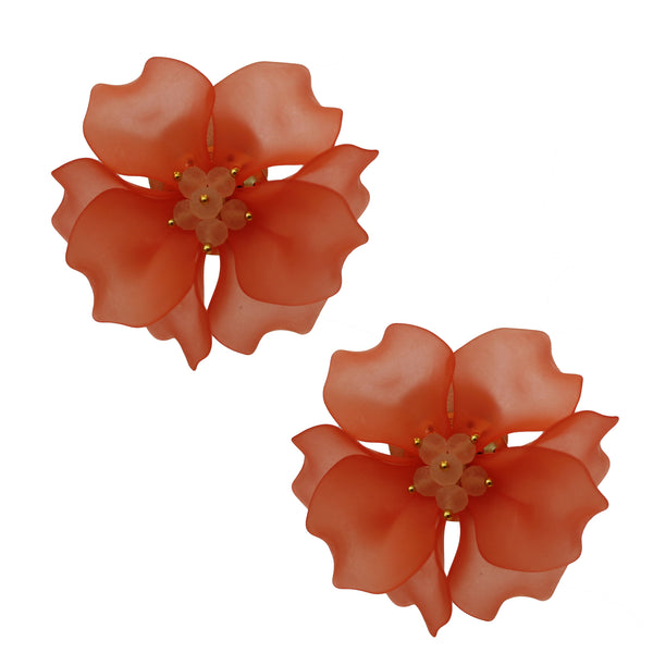 Bold Blossom Earring | Coral
