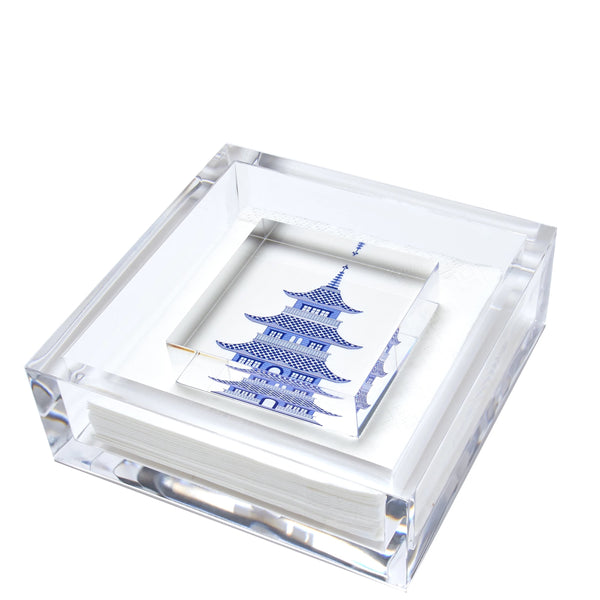 Pagoda Cocktail Napkin Holder | Blue