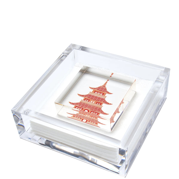 Pagoda Cocktail Napkin Holder | Orange