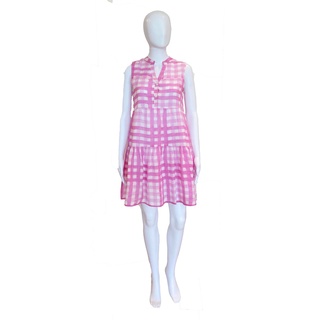 Button Neck Dress | Pink Gingham