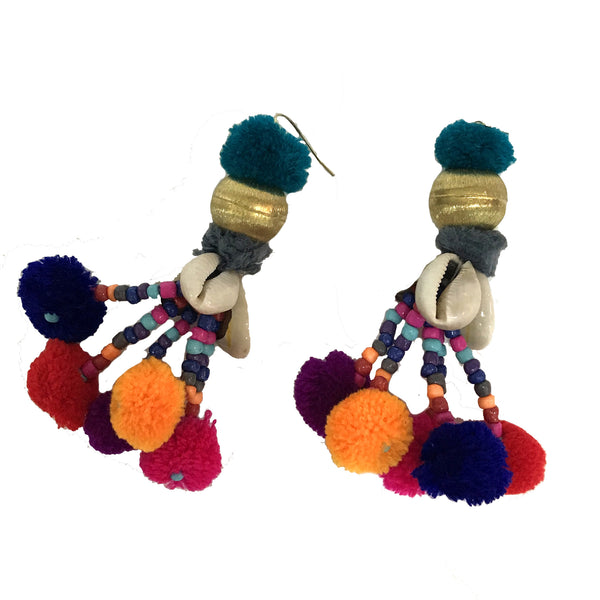 Pom Pom Kucha Shell Earrings