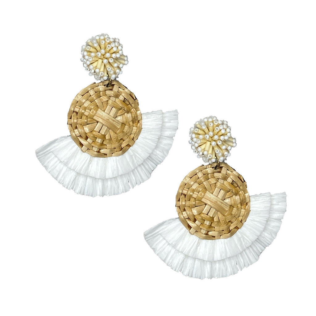 Rattan Fan Earrings | White