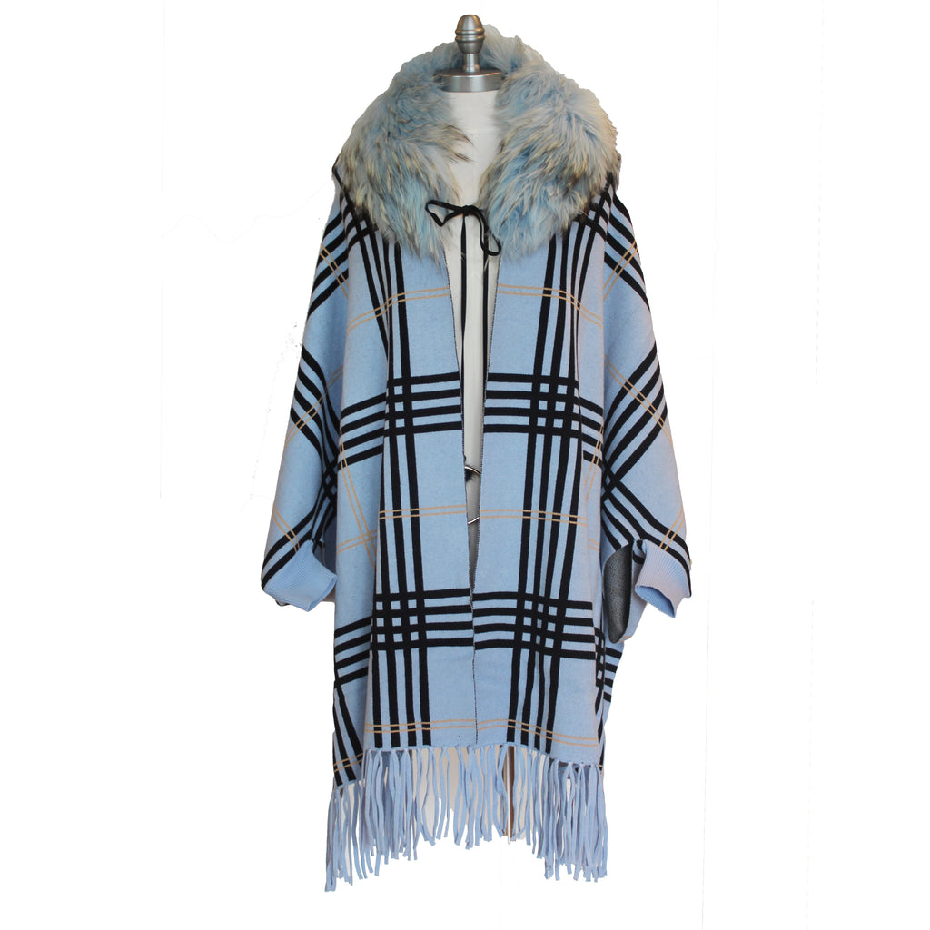Icy Blue Poncho with Sleeves