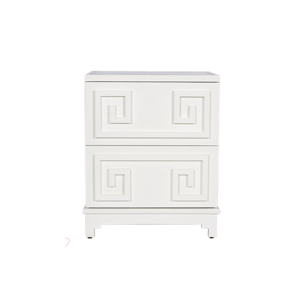 Bungalow 5 White Pagoda Mirrored Side Table - thegrovewp