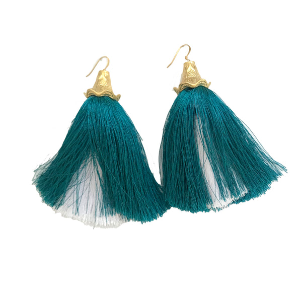Peekaboo Tassel Earrings | Teal & White