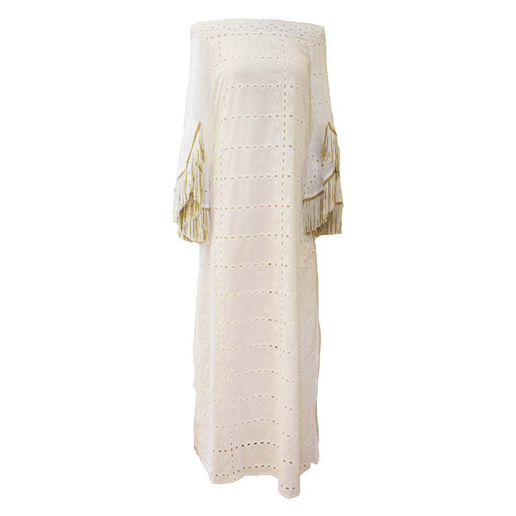 Eyelet Maxi with Fringed Sleeves
