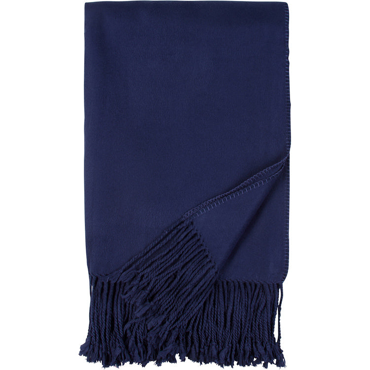 Luxxe Fringe Throw | Navy