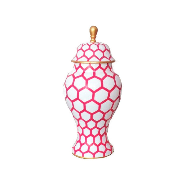 Pink Mesh Small Ginger Jar-Dana Gibson-The Grove