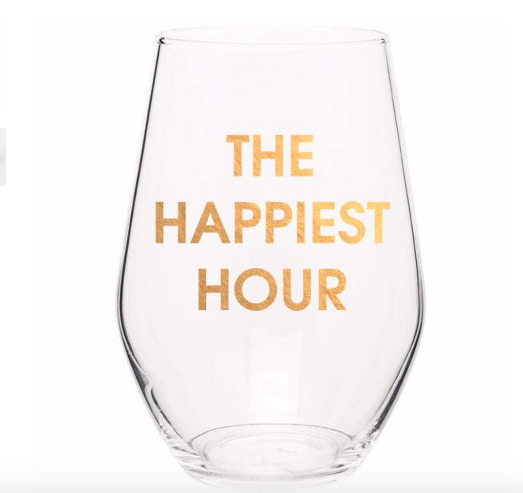 THE HAPPIEST HOUR - GOLD FOIL STEMLESS WINE GLASS