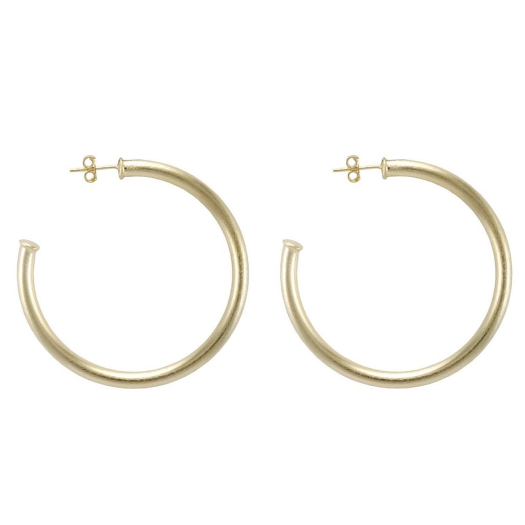Small Everybody's Favorite Hoop | Brushed Gold