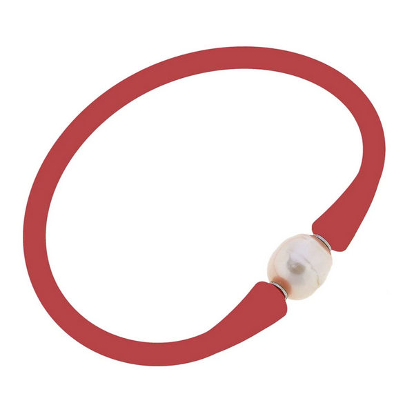Bali Freshwater Pearl Silicone Bracelet | Red
