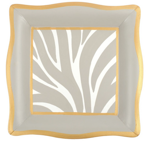 Zebra Social Tray | Taupe and White