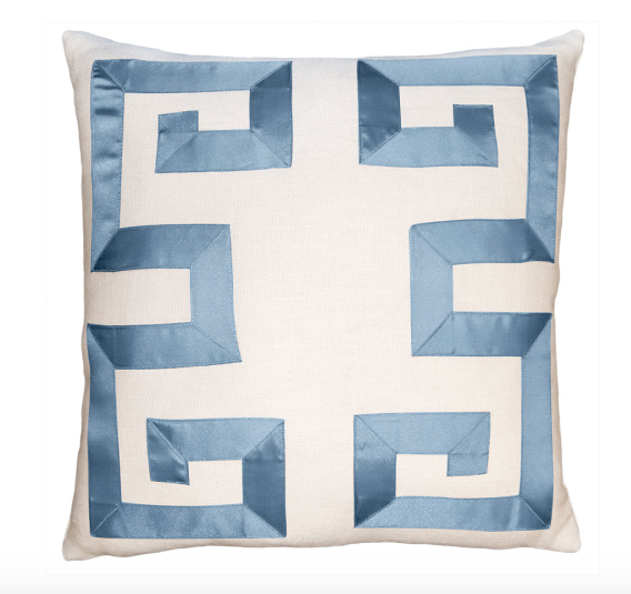 Empire Birch Slate Blue Ribbon Pillow-Square Feathers-The Grove