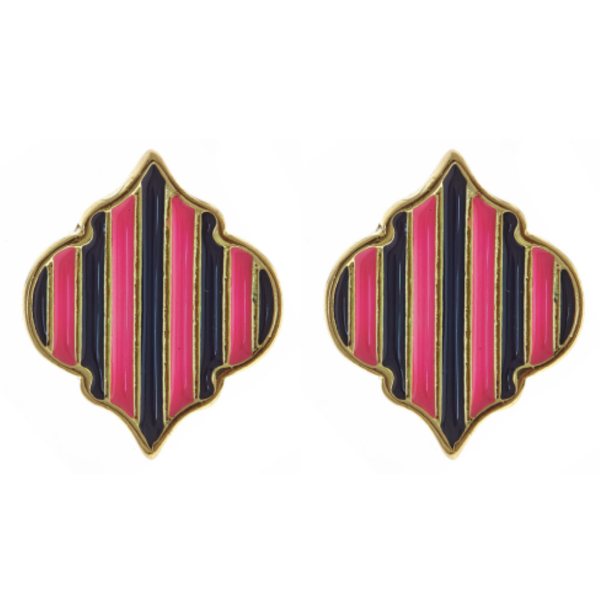 Parker Stud Earrings | Pink & Navy-Fornash-The Grove