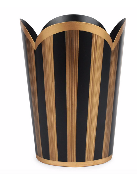 Brushed Stripe Black Tulip Wastebasket
