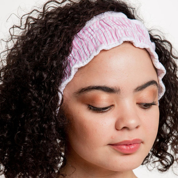 Seersucker Spa Headband | Pink