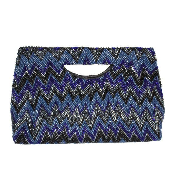 navy and gunmetal beaded clutch with handle