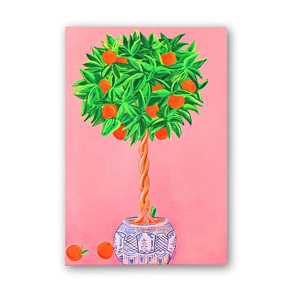 J. Villar 'Citrus Chinoserie' Acrylic on Canvas Painting - thegrovewp