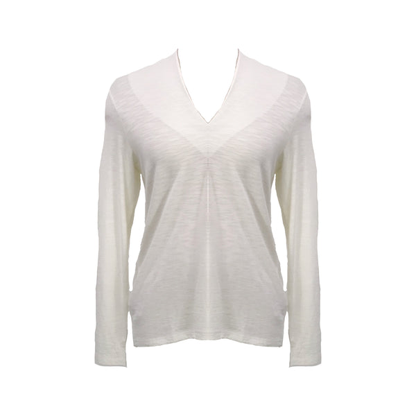 Shirred Collar Top | Winter White