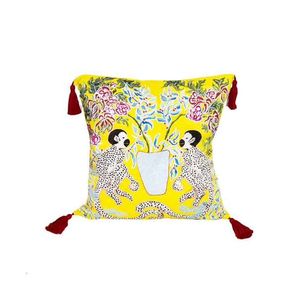 Paige Gemmel Yellow Palm Monkey Silk Printed Square Tassel Pillow - thegrovewp