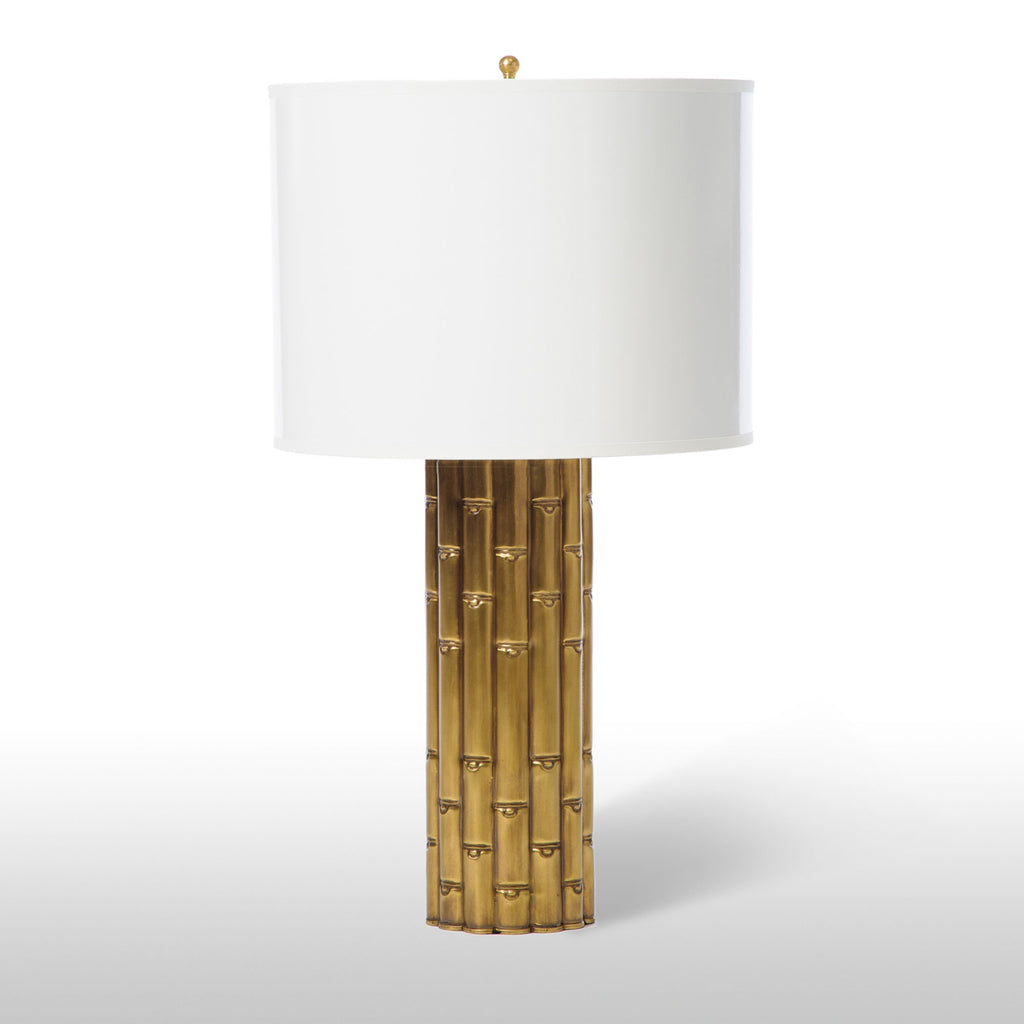 Bamboo Transitional Tall Table Lamp | Brass-Barbara Cosgrove-The Grove