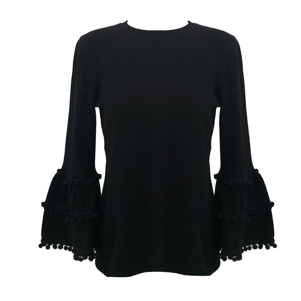 Bell Sleeve Sweater with Pom Poms | Black