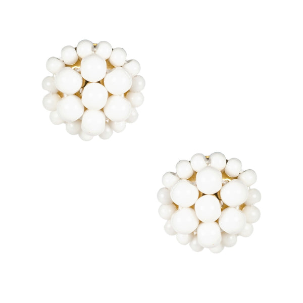 Button Post Earrings | White