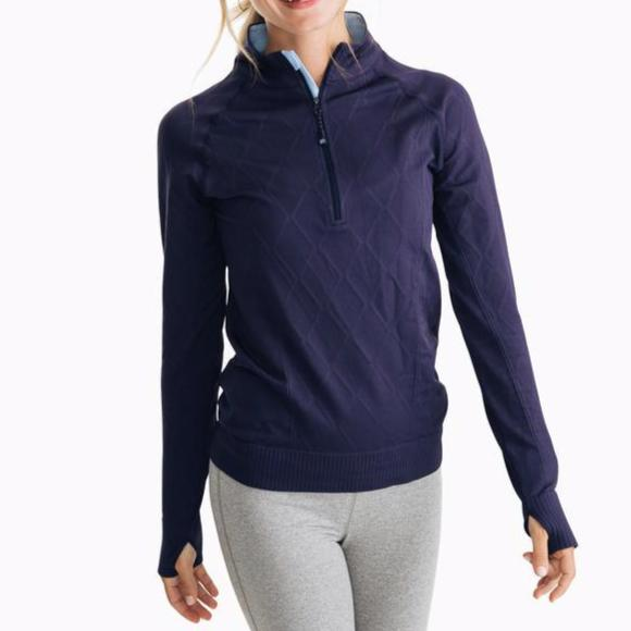 Cable Knit Athletic Quarter Zip Pullover | Nautical Navy