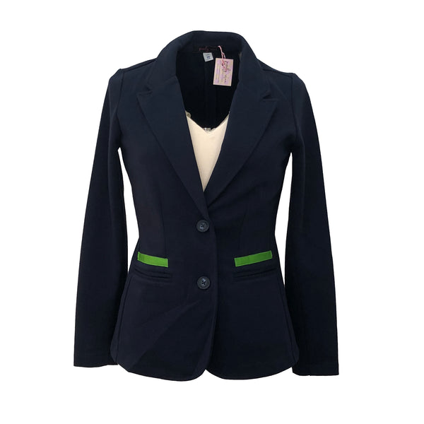 Giddy Up Jacket | Navy with Green Gingham