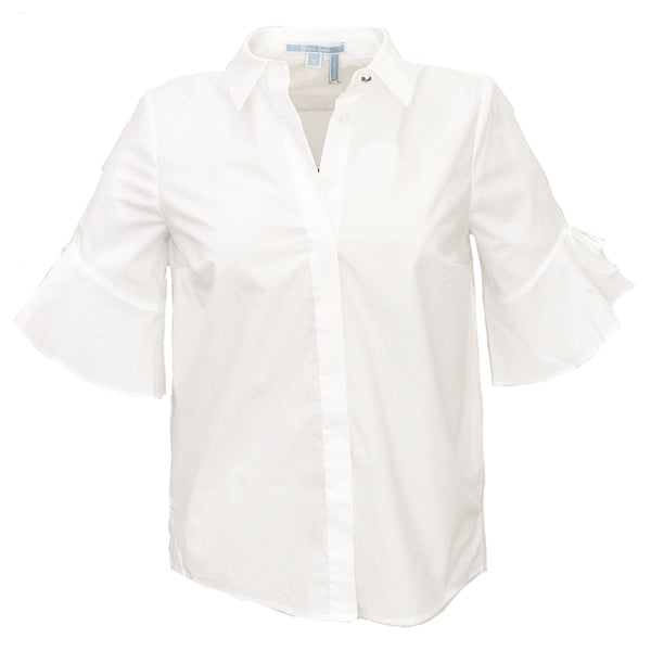 Solid Bell-Sleeve Button Down | White