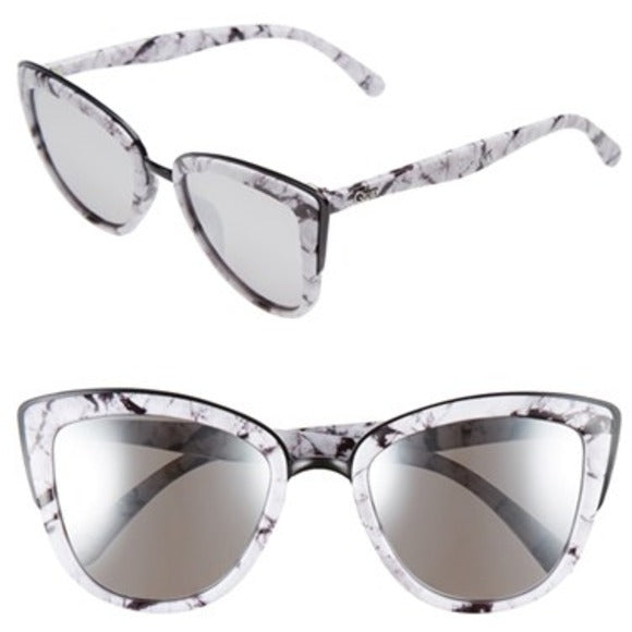 My Girl White Marble & Silver Mirror Sunglasses