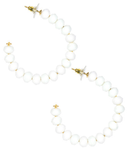 Lila Czech White Beaded Hoop Earrings