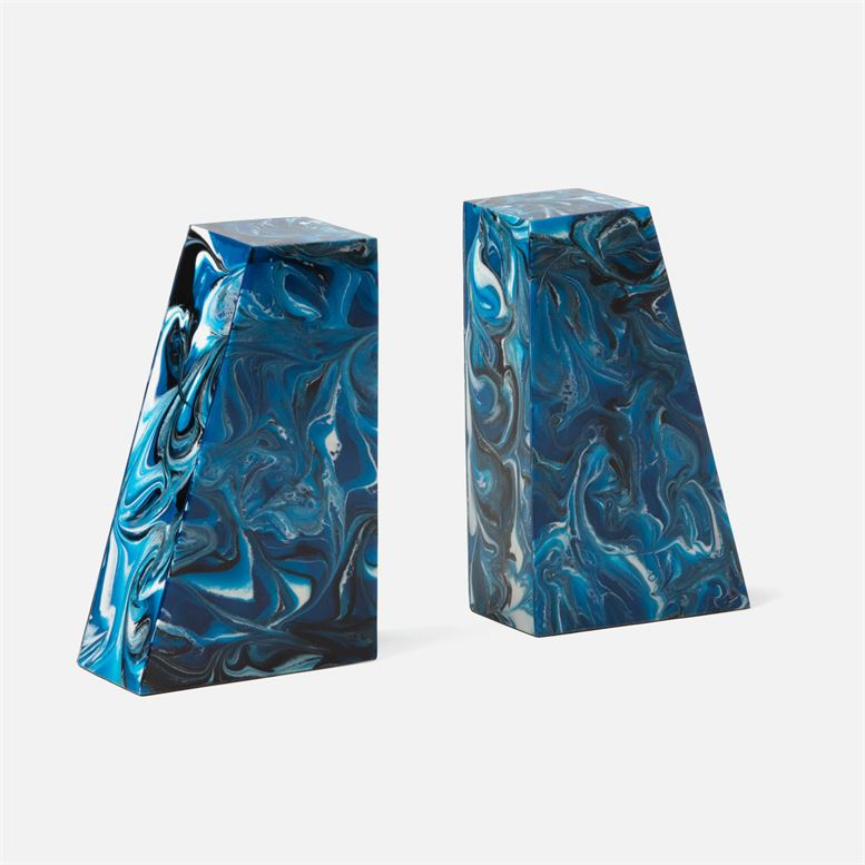 Agnus Bookends | Blue Swirled Resin