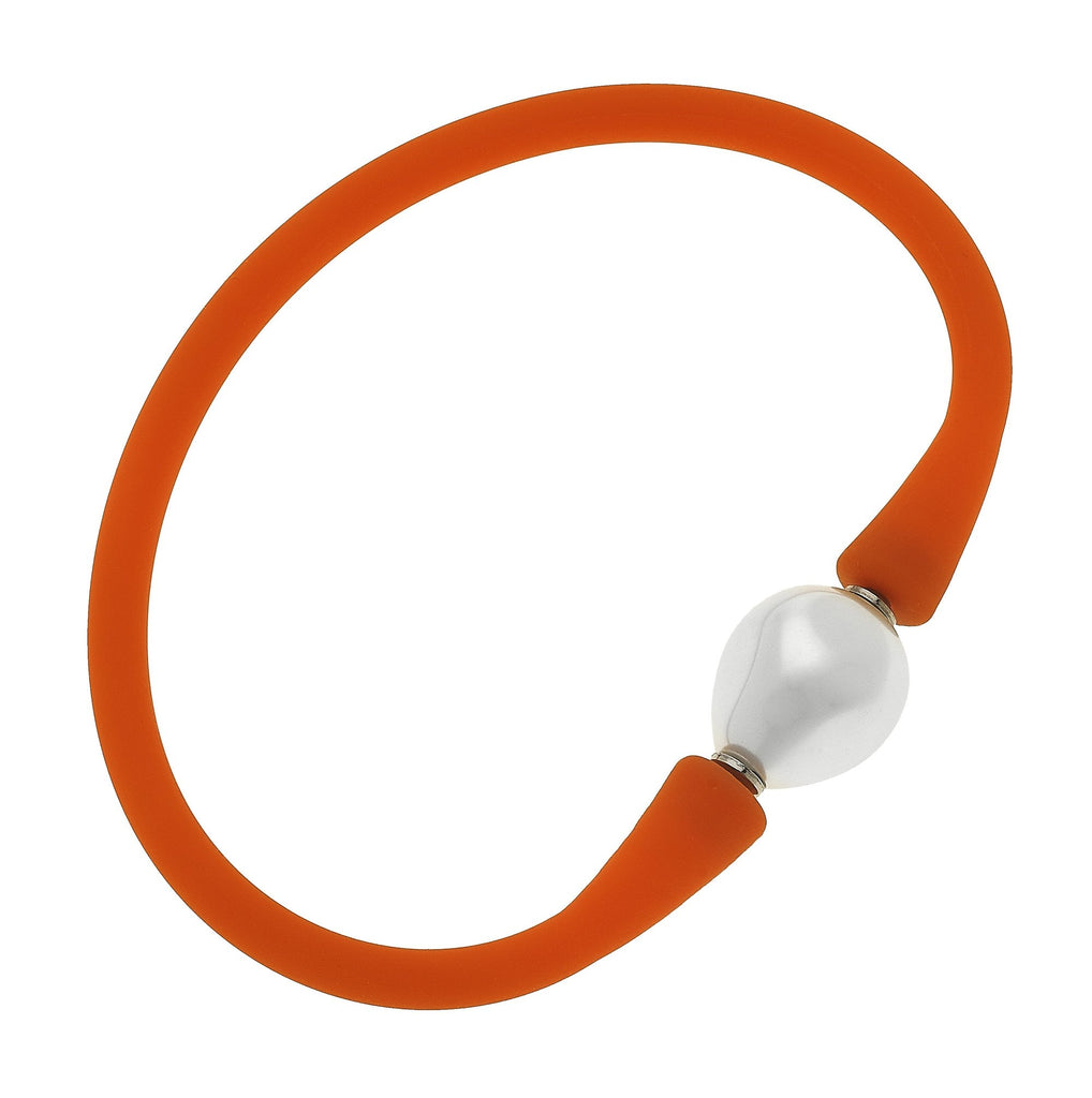 Gigi Baroque Pearl Silicone Bracelet | Orange