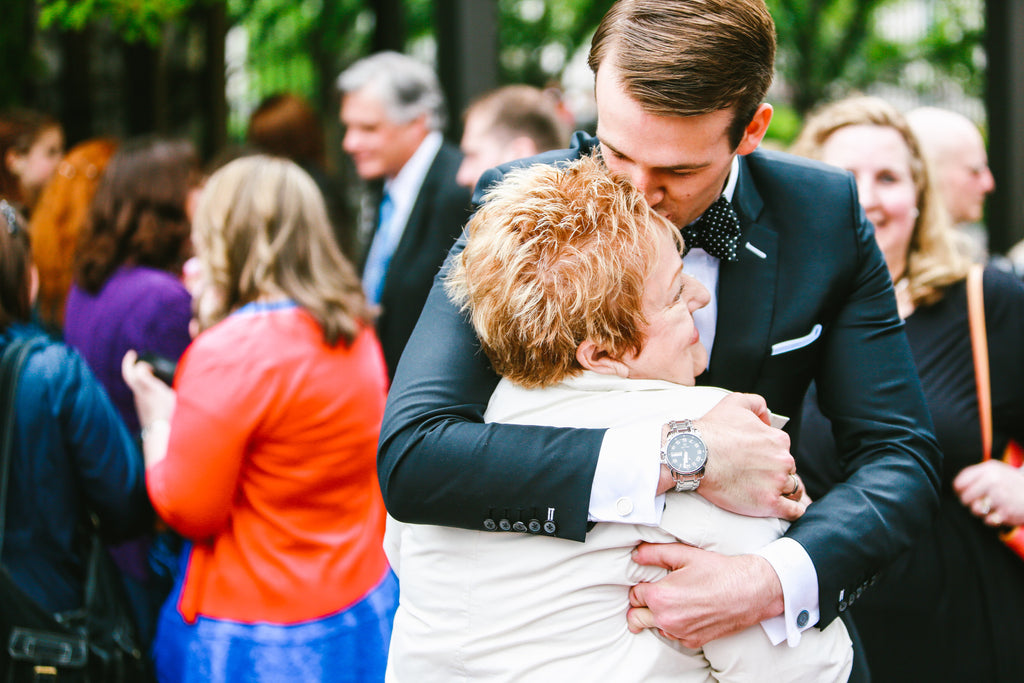 Groom and Mom at Wedding Bespoke Suit Pocketsquare