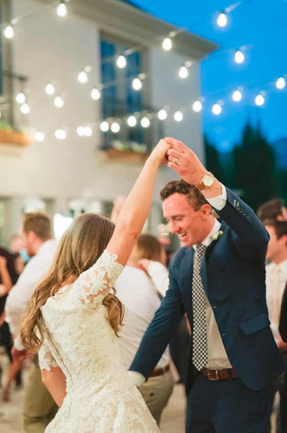 Dancing at a Bespoke custom clothing wedding