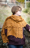 Gold Rush Shawl from Little NutMeg Productions, patterns by Meghan Jones