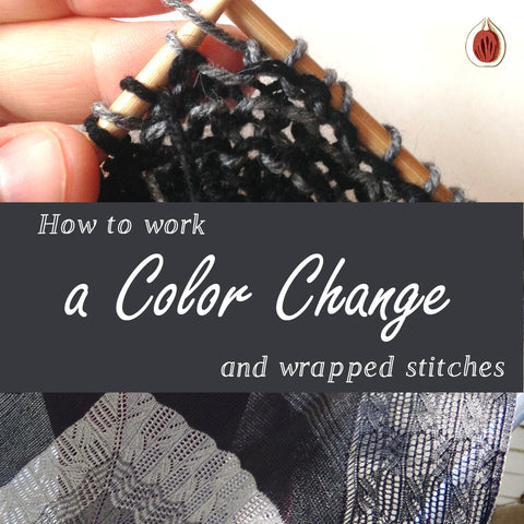 How to work a Color Change and Wrapped Stitches (at the same time)