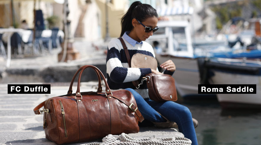 Floto Collection Duffle Bag and Roma Leather Saddle Bag