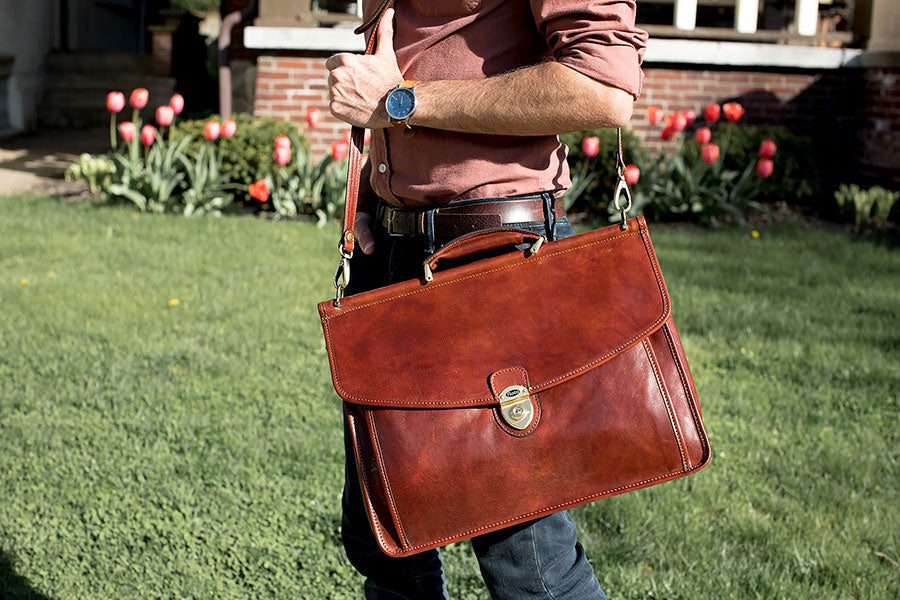 Floto Leather Messenger Bag and Briefcases for Men