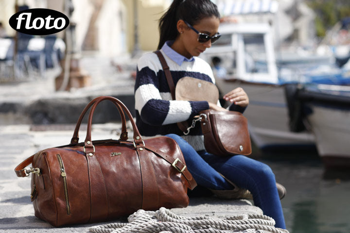 leather duffle bag and roma saddle bag floto