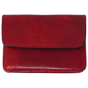 Floto Italian Leather Card Case Wallet red