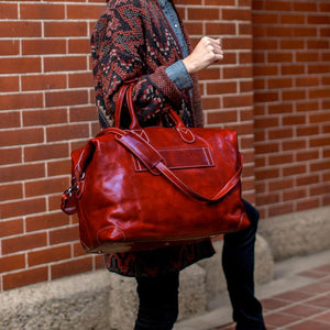 Chiara Leather Travel Bag red