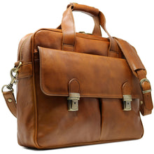 Load image into Gallery viewer, Computer Bag Floto Roma Leather Briefcase Messenger tobacco brown 2