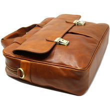 Load image into Gallery viewer, Computer Bag Floto Roma Leather Briefcase Messenger tobacco brown 3