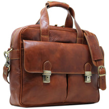 Load image into Gallery viewer, Computer Bag Floto Roma Leather Briefcase Messenger brown 2